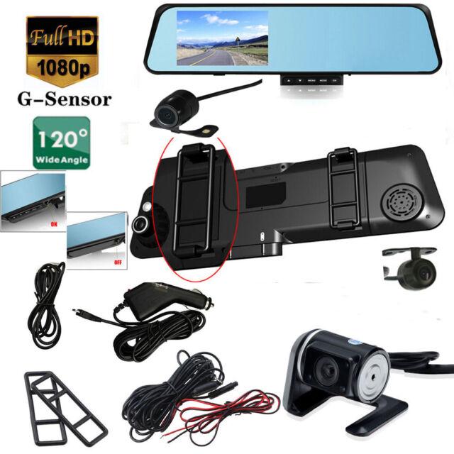 "4.3"" HD 1080P Dual Lens Video Recorder Dash Cam Rearview Mirror Car Camera DVR"