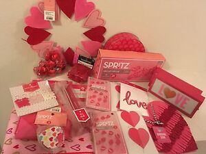 Valentine's Day Party Decorations banners and wine stirrers hearts