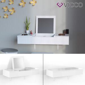 Schminktisch weiß  Details zu VICCO Schminktisch MIA Weiß hochglanz Frisiertisch Kommode  Spiegel wandhängend