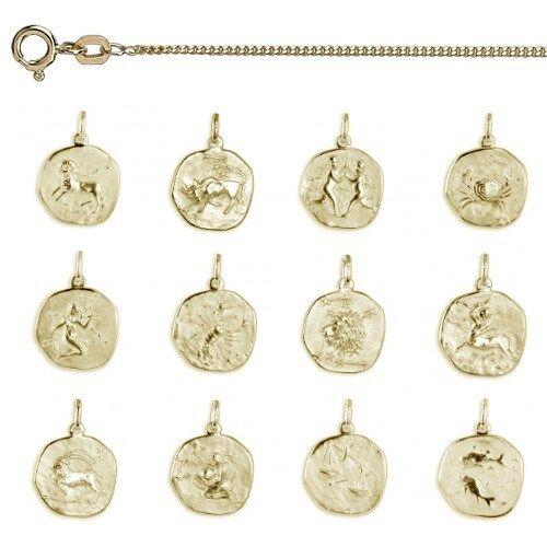 Echt Gold 585 Ihr Sternzeichen Gravur Anhänger Mit Name Datum Mit Silber Kette