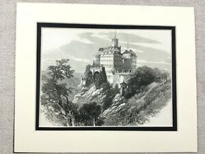 1875 Antico Stampa Schloss Furstenberg Tedesco Castle Landscape Vista