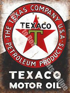 Texaco Motor Oil, 152 Old Vintage Garage Advertising Fuel, Large Metal Tin Sign