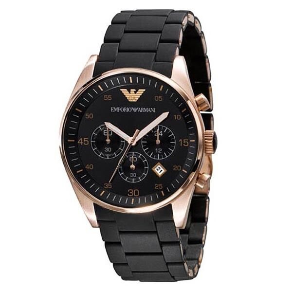 EMPORIO ARMANI Mens Black & Gold Chronograph Watch AR5905 - New (RRP £300)