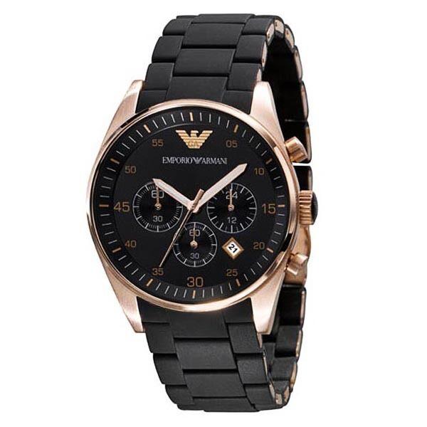 EMPORIO ARMANI Mens Black & Gold Chronograph Watch AR5905 - New (RRP £300)