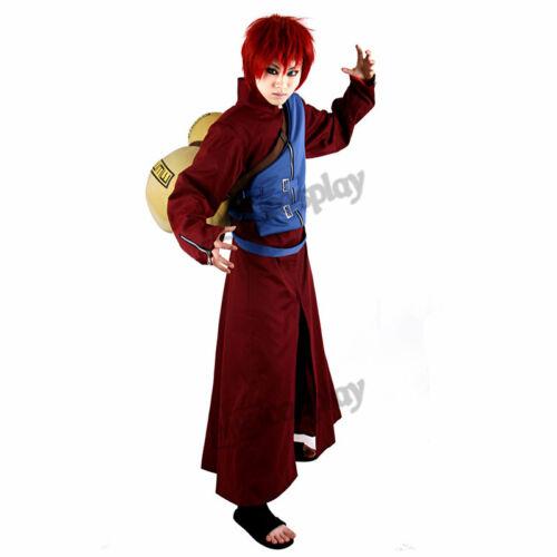 Anime Gaara Shippuden Cosplay Costume Men Red Overcoat Belt Jacket Trousers