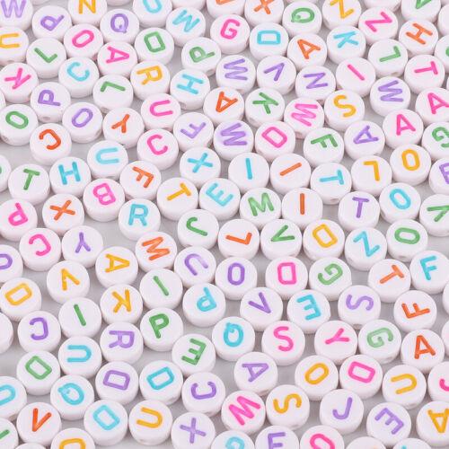 400Pcs White Letter// Alphabet Acrylic Beads For Bracelet DIY 7mm