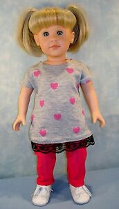 18 Inch Doll Clothes Hearts on Gray T-shirt and Leggings handmade by Jane Ellen