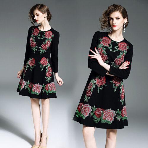 02f18a8681cd Vestito Fiori Manica Elegante 4806 Scampanato Abito Corto Donna Nero Moda  7Yqr7p