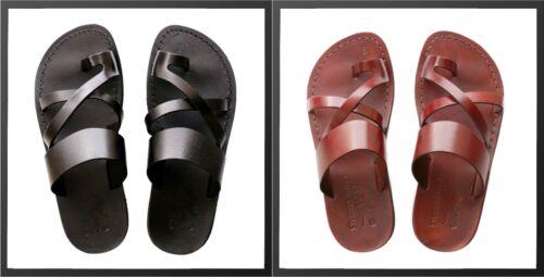 Discount 100% Leather Brown Black Roman Jesus Sandals Men Strap Handmade US 5-13 EU 36-47