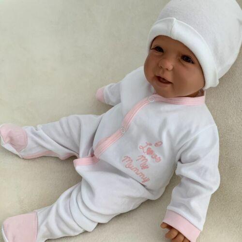 56 62 68 I love my mummy NEU Baby Mädchen Strampler Schlafanzug Einteiler Gr