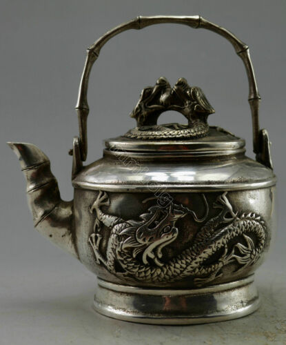 132mm Collectible Decor Old Handwork Miao Silver Carved Dragon Bamboo TeaPot