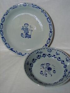 Vintage-Kari-Nyquist-Stavangerflint-Norway-8-034-Plate-amp-6-034-Bowl-Earthenware