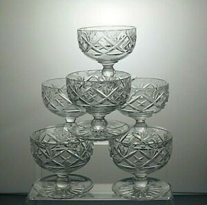 Lead-Crystal-Cut-Glass-Heavy-Footed-Dessert-Dishes-Ice-Cream-Bowls-set-of-6