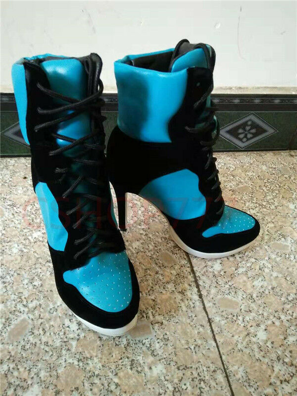 Sexy Womens new fashion ankle high Top Boots lace up high heels motorcycle shoes