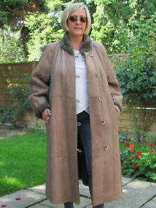 WOMENS-XXL-XXXL-Shearling-Lambskin-Sheepskin-Baby-Lamb-Coat-Jacket-Ladies-D4102