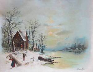 Old House Stream Boat People in Winter by William Chandler