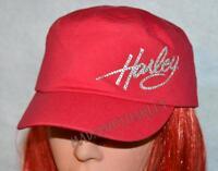 Harley-davidson Womens Red Crystal Harley Flat Top Baseball Cap Hat