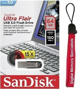 SanDisk-64GB-USB-SD-CZ73-Ultra-Flair-64G-USB-3-0-150MB-s-SDCZ73-064G-Lanyard