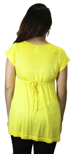 Yellow Solid Maternity Short Sleeve Pregnancy Babyshower Blouse V-neck