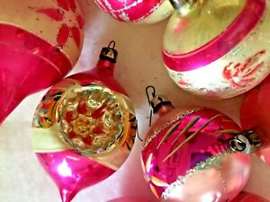 8-Vintage-Pink-Poland-Mercury-Glass-Ornaments-1-Indent-Striped-Hand-Painted