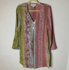 Diane Gilman Women's 100% Silk Duster Long Top Size Small Floral Sequins Dressy