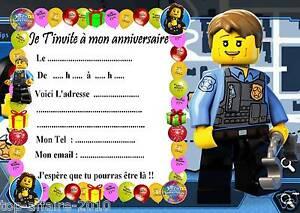 Beliebt 5 cartes invitation anniversaire Lego City 03 d'autres en vente  AD32