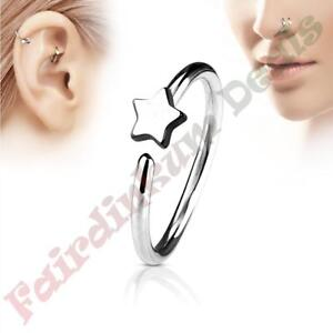 316L-Surgical-Steel-Silver-Ion-Plated-Nose-amp-Ear-Cartilage-Ring-with-Star