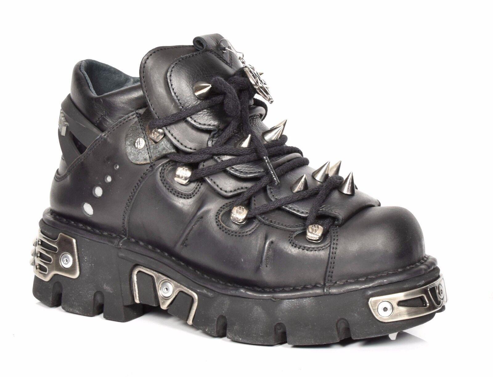 New Rock Cuero botas al Tobillo acordonadas Negro Metalizado Diseño Picos Zapatos de plataforma