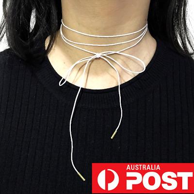 Wrap Tie Ribbon Choker Bar Bead Tan Brown White Black Silver Tube Suede String