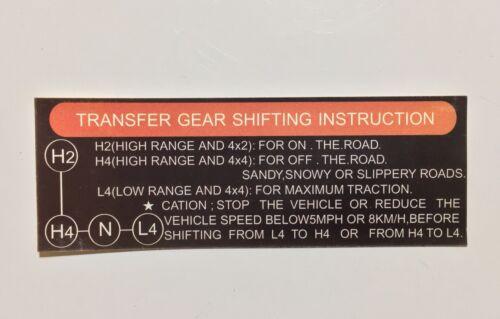 FJ40 ??? FJ60 FJ62 Glove Box 4WD Instruction Decal Sticker
