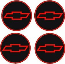 "NEW CHEVY STYLE 2.55 "" RED&BLACK & RED DOMED BOW TIE Center Cap STICKER DECALS"