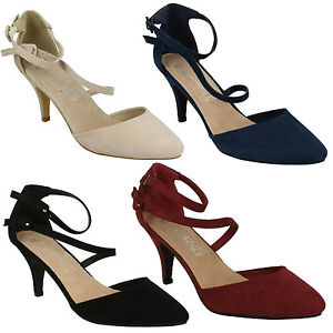 Femmes Spot On Talon Moyen Sangle Escarpins Chaussures