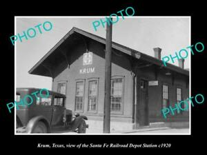 OLD-LARGE-HISTORIC-PHOTO-OF-KRUM-TEXAS-THE-RAILROAD-DEPOT-STATION-c1920