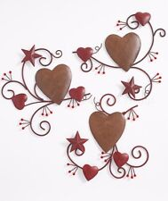 3 Pc Hearts And Stars Metal Wall Art Country Primitive Home Decor For Sale Online