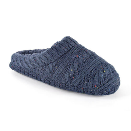 Mens Navy Blue Flecked Knitted Mule Slippers