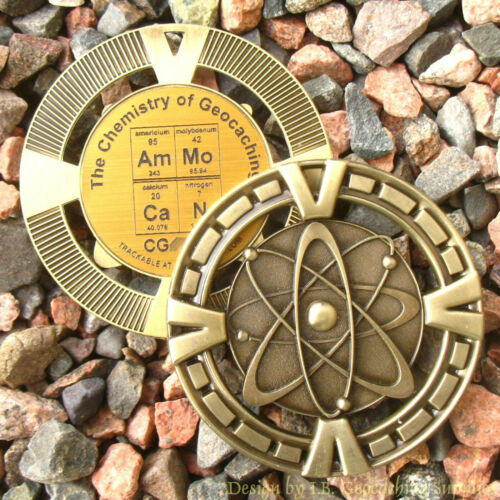 """AmMo CaN Chemistry of Geocaching Geomedal Geocoin 2.5/"""", Antique Gold Colour"""