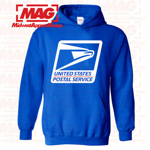 USPS LOGO POSTAL ROYAL BLUE HOODIE Post Office Worker Employee Hooded Sweatshirt