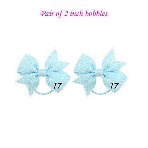 """2/"""" Baby Girls Kids Ribbon poney bande de cheveux ruban élastique Bobbles School Paire 2 in environ 5.08 cm"""