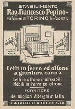 Z2281 Letti in Ferro Rag. PEPINO - Torino - Pubblicità del 1927 - Vintage advert