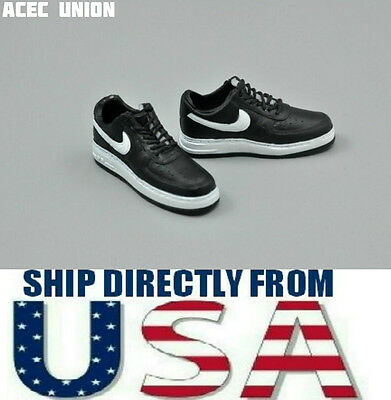 """1/6 NIKE Style Men Sneakers BLACK WHITE For 12""""  Hot Toys Figure - U.S.A. SELLER"""