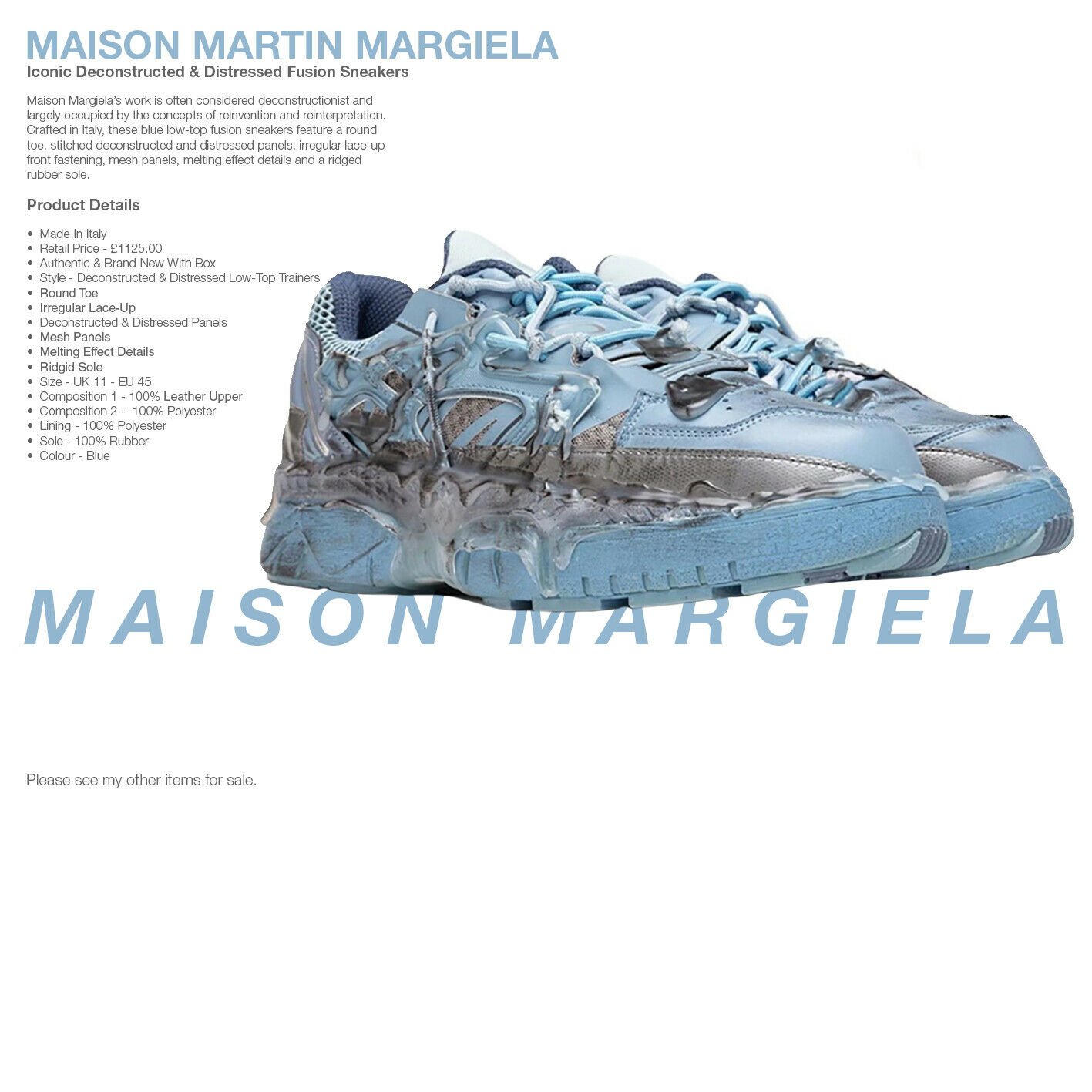 MAISON MARTIN MARGIELA Trainers - Blue Distressed Fusion Sneakers - WAS