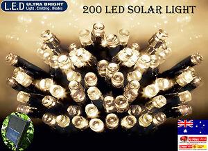 200 LED 20.9m Warm White Solar Christmas Wedding Party Fairy String Lights