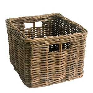 Image is loading Sturdy-Quality-Square-Grey-Wicker-Rattan-Storage-Basket  sc 1 st  eBay & Sturdy Quality Square Grey Wicker Rattan Storage Basket | eBay