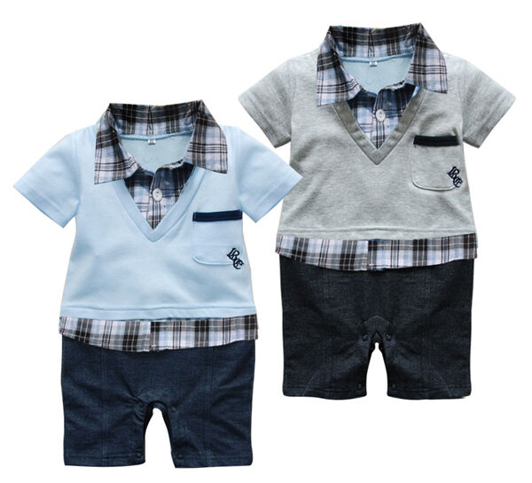 Grey or Blue Gentleman Baby Boy Short Sleeved Bodysuit Jumpsuit Romper