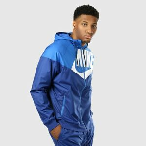 Nike Windrunner Jacket GX1 Mens Full ZIp Hoodie S Blue White Jacket ... 313cf1645