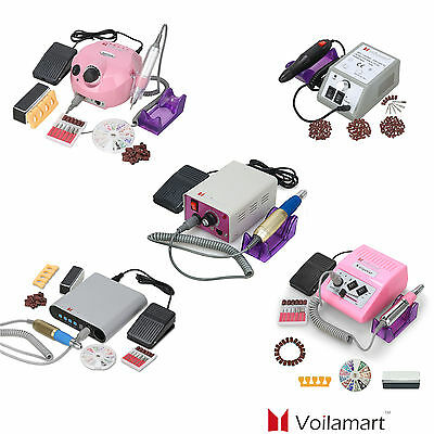 Voilamart Electric Nail Drill File Acrylic Manicure Art Kit Salon Tool 6 Bits
