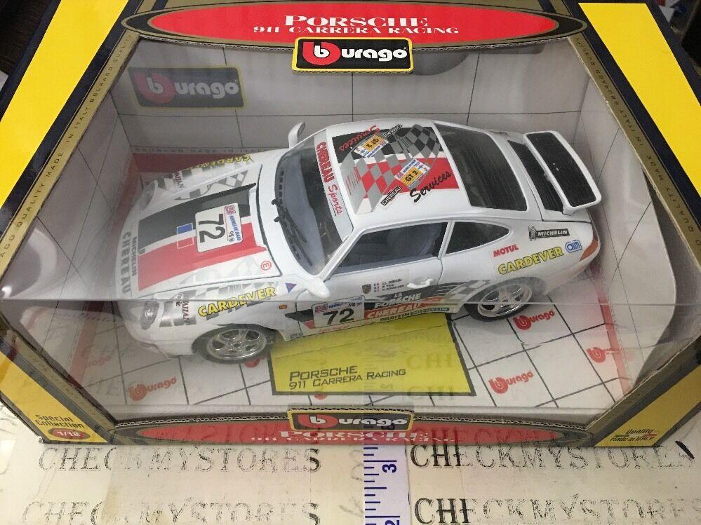 Nuovo Bburago  1/18 1993 Porsche 911 Carrera Racing Le Mans  72 Made Italy