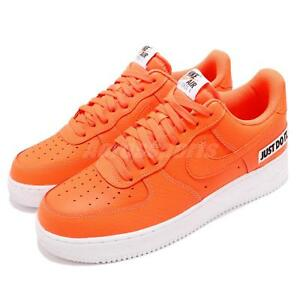 803911dcc22 Nike Air Force 1 07 LV8 JDI LTHR Just Do It Leather Orange Sneakers ...