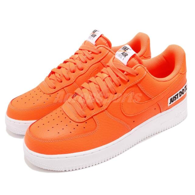 2f3c1dcad30c Nike Air Force 1 07 LV8 JDI LTHR Just Do It Leather Orange Sneakers BQ5360-