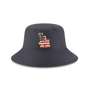 sports shoes 7e570 1a851 Los Angeles Dodgers New Era 2018 Stars   Stripes 4th of July Bucket Hat –  Navy
